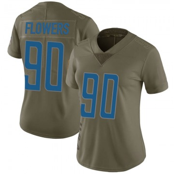 Women's Trey Flowers Detroit Lions Limited Green 2017 Salute to Service Jersey